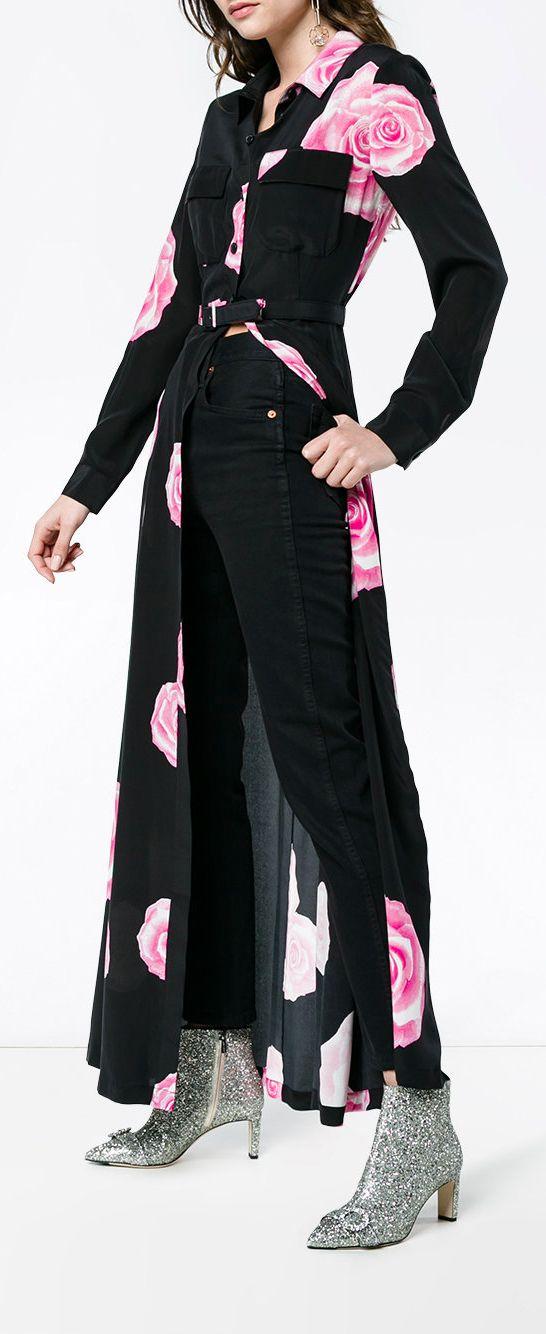 abfb6dd4 GANNI belted shirt dress with rose print, explore Ganni on Farfetch now.