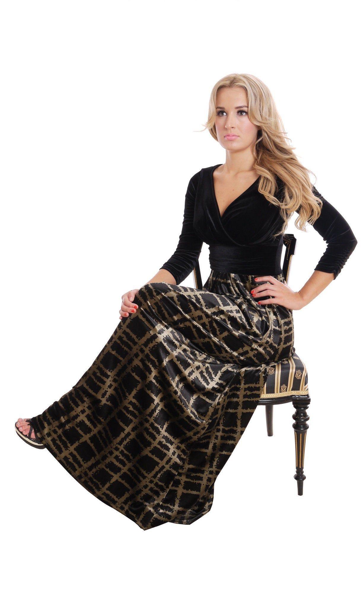 Black velvet dress full length for wedding prom plus size