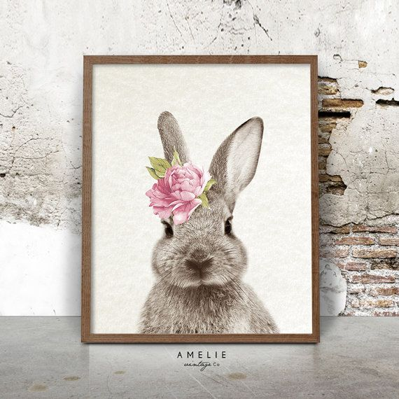 Bunny Rabbit Print, Nursery Printable Wall Art, Woodland Decor, Nursery  Animal Poster, Watercolour Flower, Digital Download, Woodland Bunny