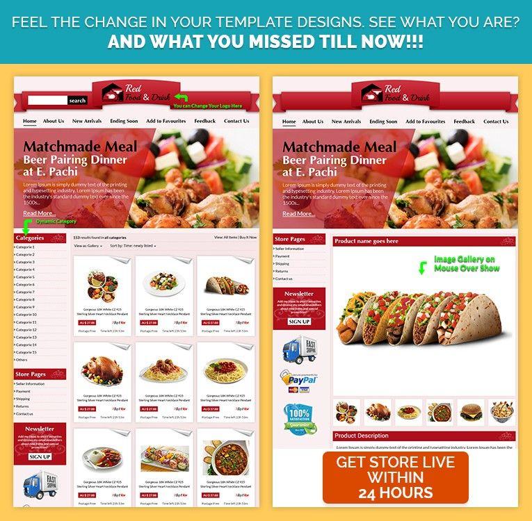RedTheme #Food  #Drink #CustomeBayListing Template Design