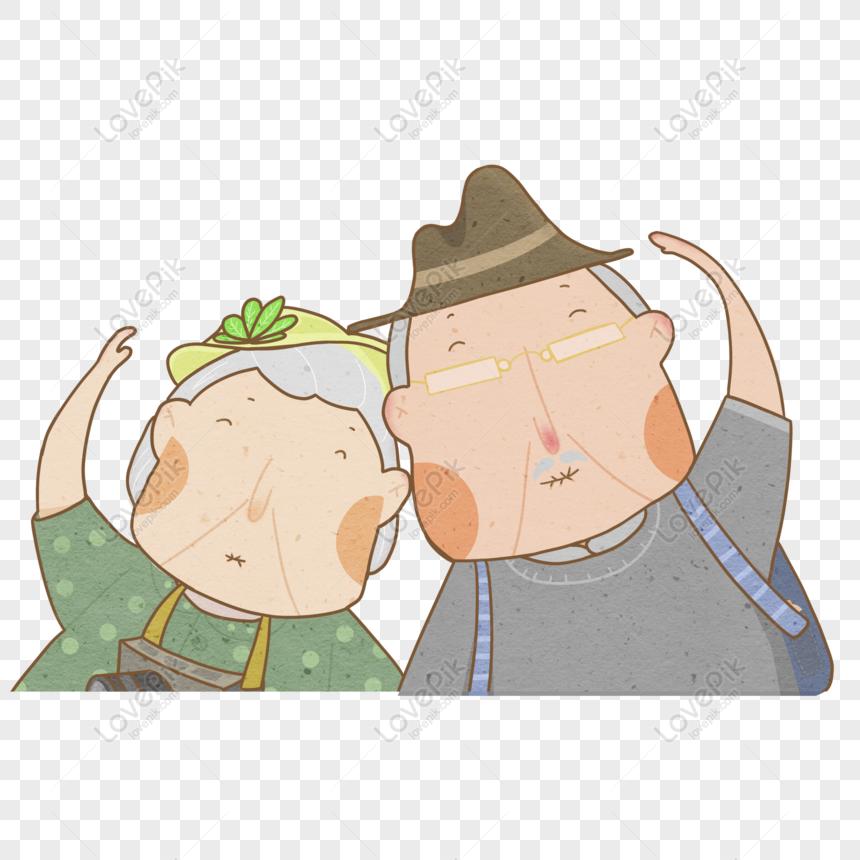 องค ประกอบการตกแต งป ย าตายายน าร ก Decorative Element Hand Drawn Grandfather Grandma Intimate Cute Character Hat