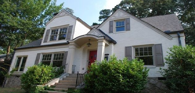 White house with grey trim exterior paint ideas curb - Grey house exterior with white trim ...