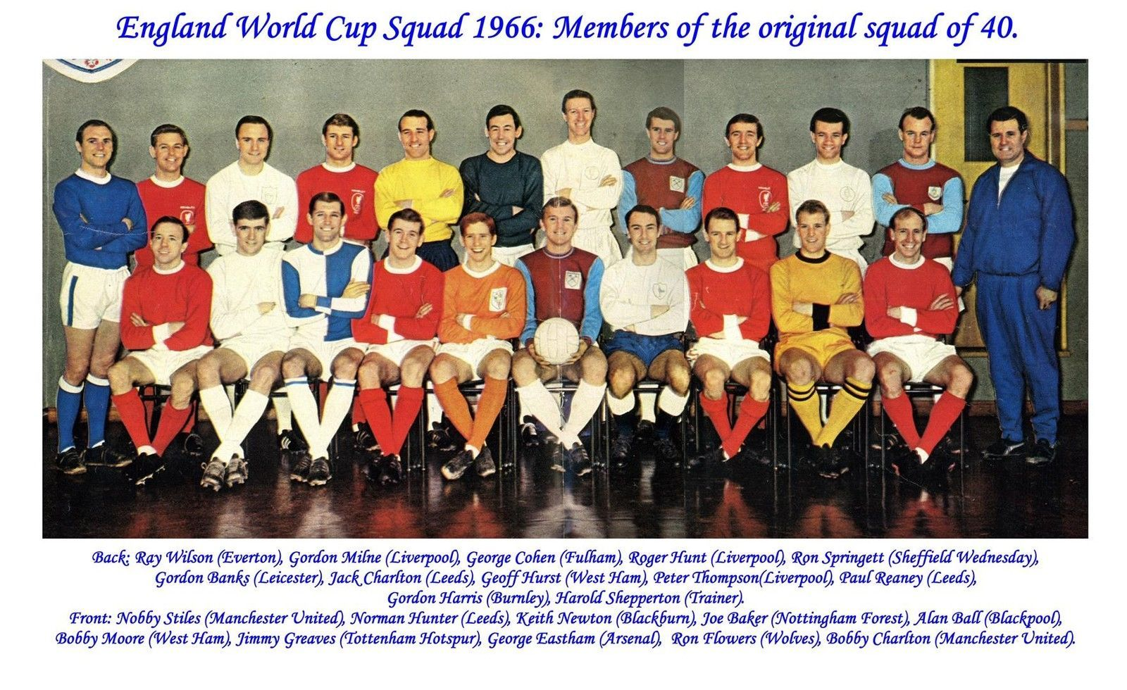 England World Cup Winners 1966 3 Team Photos 22 Man Squad Club Colours