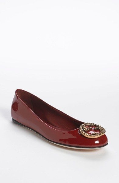 dd4168c34 Gucci Red Ballerina Flat - Lyst | Wish List | Ballerina flats, Flats ...
