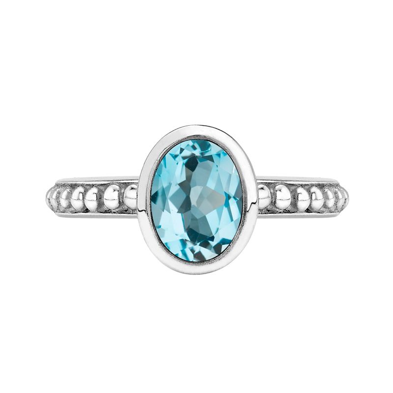 NOVEMBER Sterling Silver Oval Blue Topaz Granular Dotty Twinkle Ring