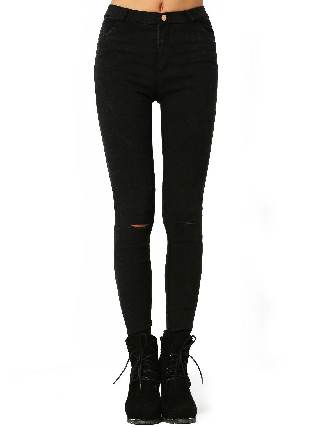 Skinny Jeans mit zerrissenen Design - schwarz- German SheIn(Sheinside) 90a12a2e16