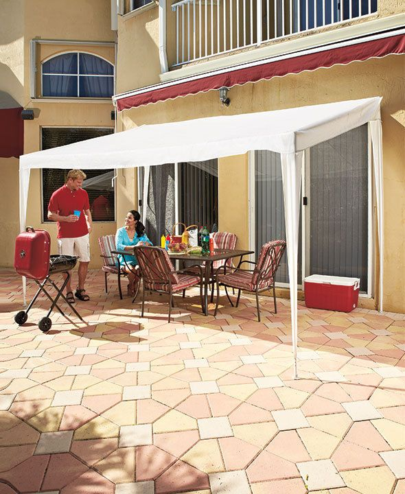 Portable Cabana Awning Sun Shade Covered Patio Freestanding Outdoor Canopy Deck Steelandpolyethylene