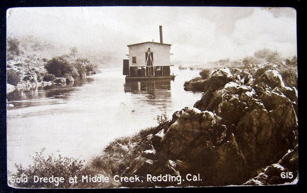 Redding CA~1911 GOLD DREDGE AT MIDDLE CREEK | Vintage