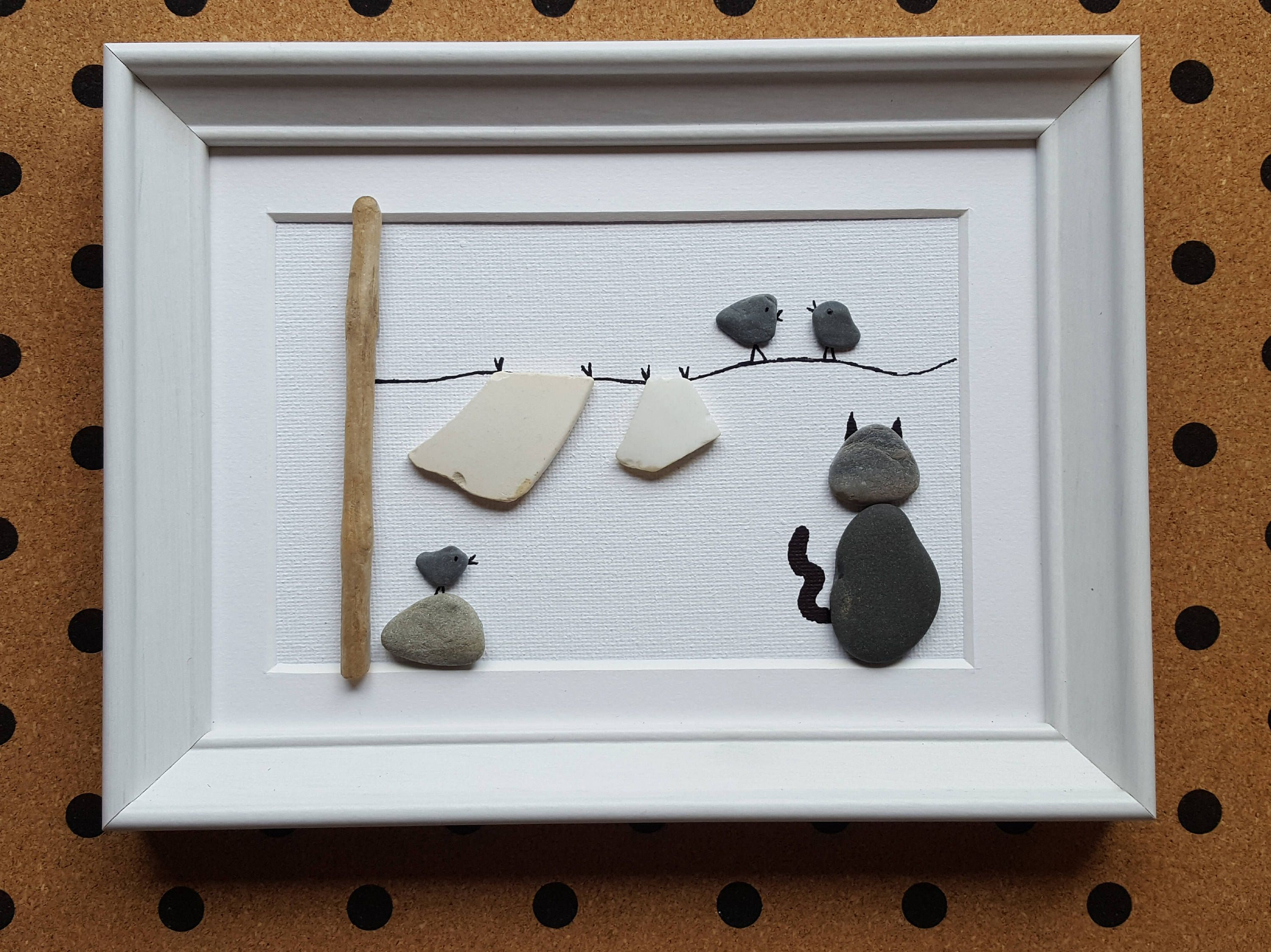 Handmade Pebble Art Frame Washing Line With Cat And Birds Crockery As Washing One Of A Kind By Cristinasquirkycraft On Etsy Pebble Art Rock Art Art