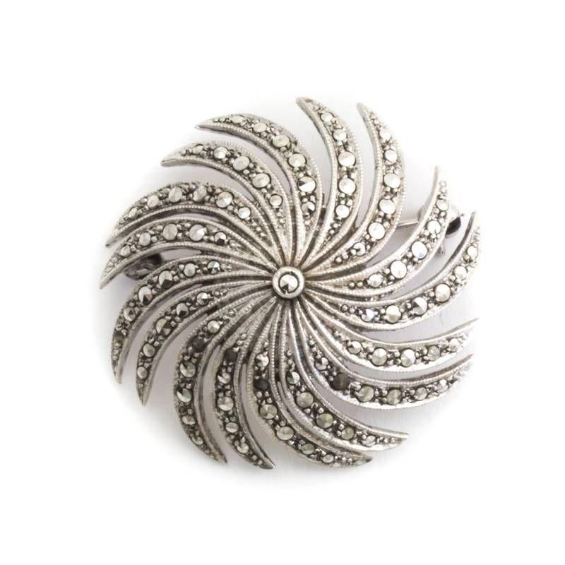 Zilveren broche met markasiet Aurora Patina Broche