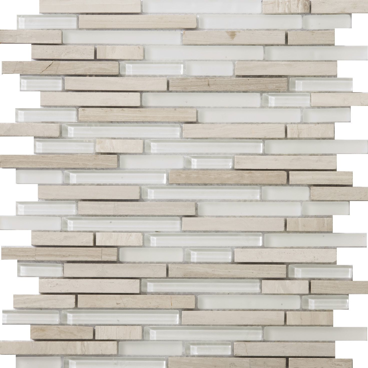 Lucente Random Sized Glass and Stone Glossy Mosaic in Andrea Linear | Wayfair