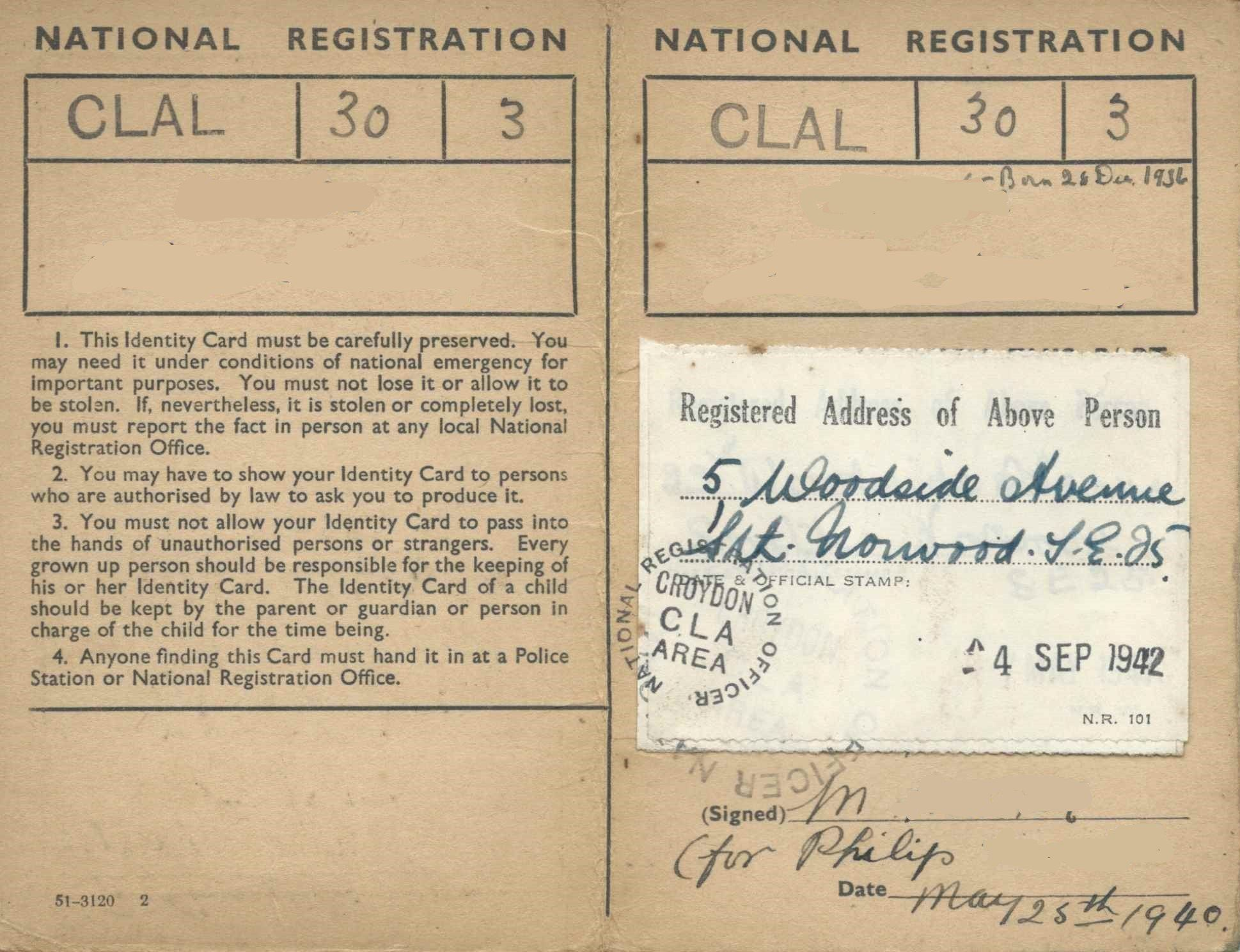 Register The Wartime National Register Trace Ww Ancestors Intended For World War 2 Identity Card Tem Card Template Label Templates Free Business Card Templates