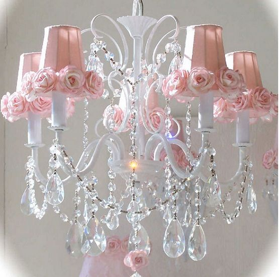 Your Pink Chandelier Shade With Roses Here Add Softness And Sweetness To Little S Wall Sconce Or Candelabra These Gorgeous