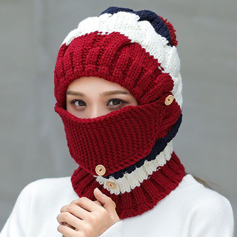 97238d58b Women Winter Windproof Warm Plus Velvet Knit Hat Scarf Set with Face ...