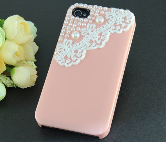 Lace with Pearl pink Hard Case Cover ----for Apple iPhone 4 Case, iPhone 4s Case, iPhone 4 Hard Case. $14.99, via Etsy.