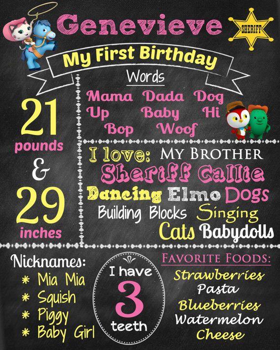 Sheriff Callie birthday chalkboard
