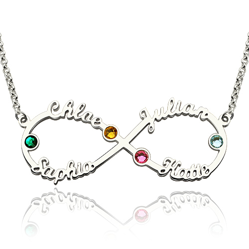 Personalized Infinity Four Name Necklace With Birthstones Silver