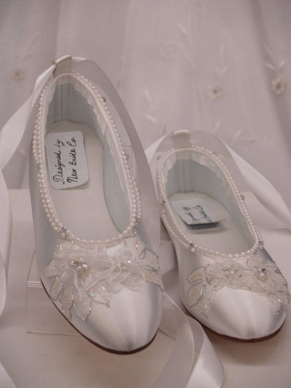 Wedding Shoes White Ballerina Satin Flats With By Newbrideco 89 00