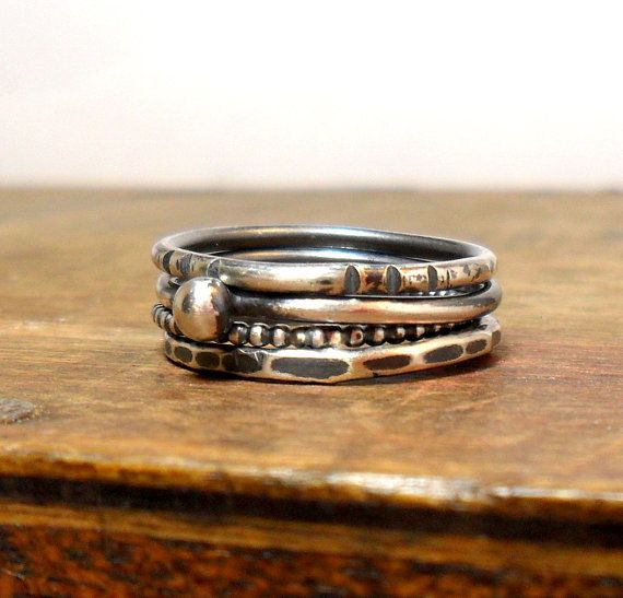 Set of 4  Antiqued Sterling Silver Stacker by StudioJewellerybyJo
