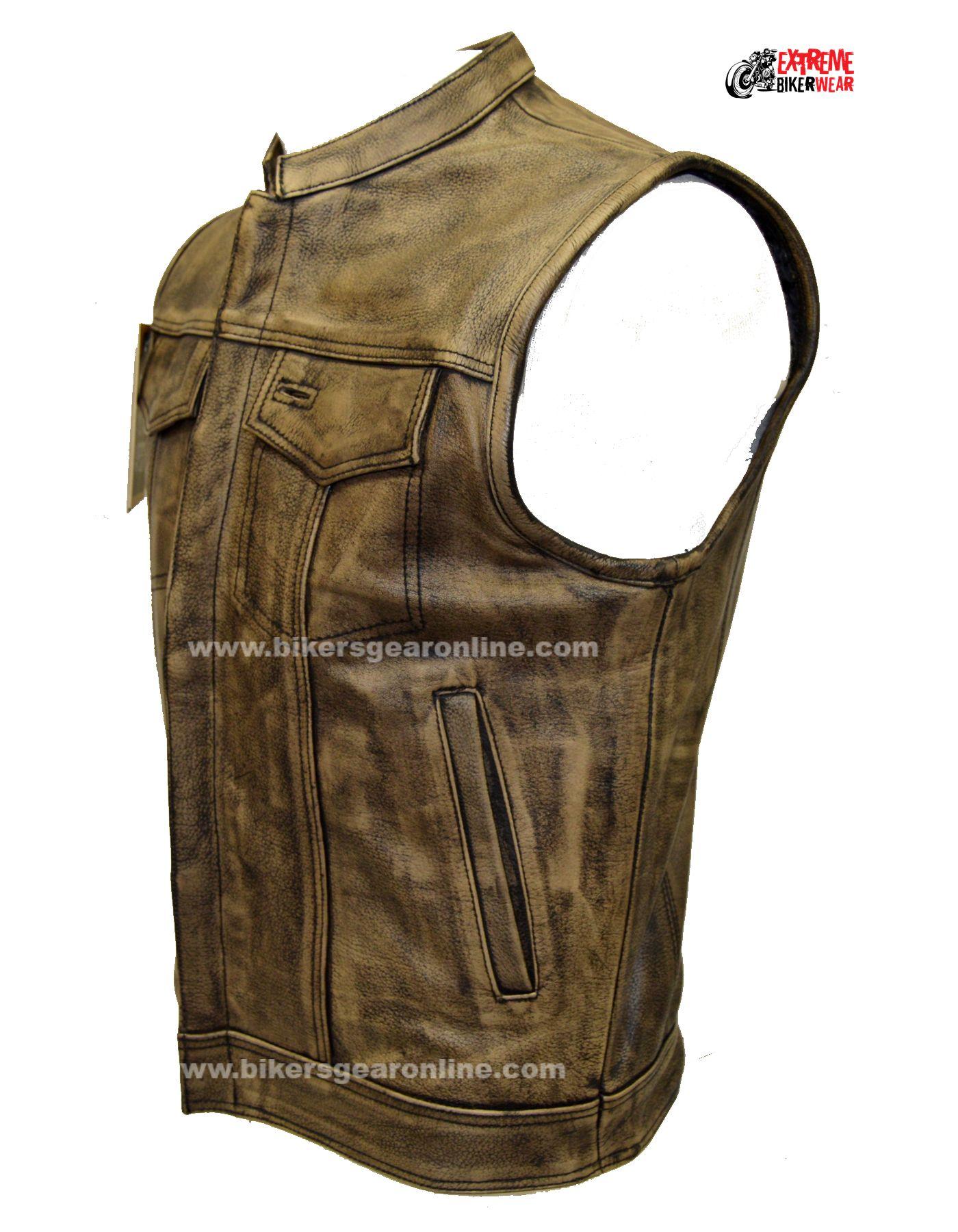 Men S Distressed Brown Leather Motorcycle Club Vest Bikers Gear Online Usa Leather Waistcoat Leather Mens Leather Vest