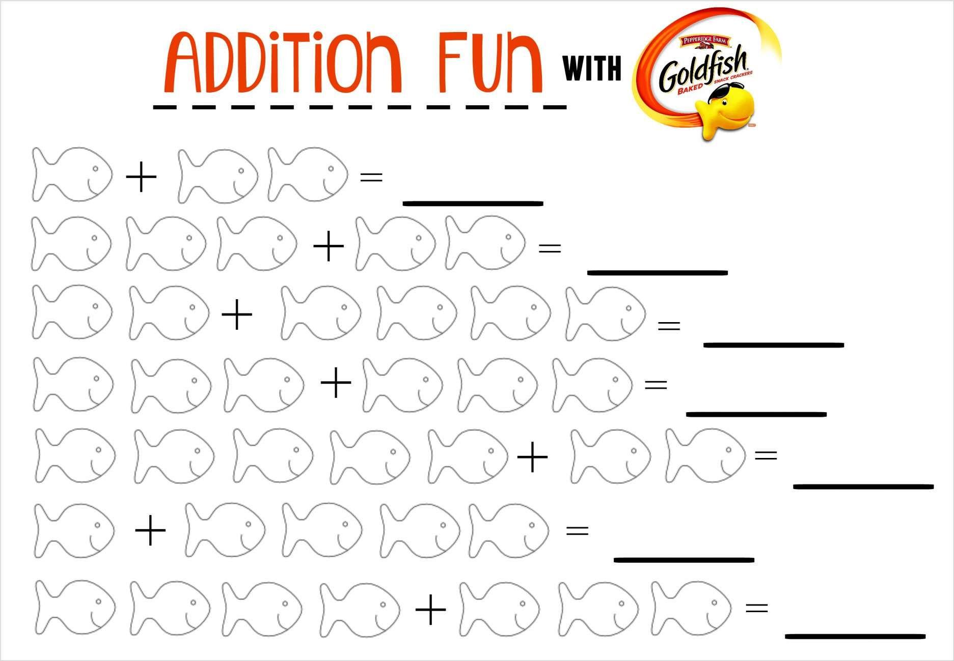 12 Goldfish Math Worksheet