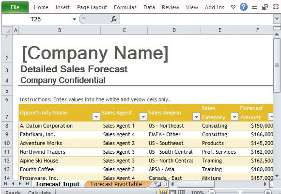 Sales Forecast Template For Excel Excel Templates Pinterest