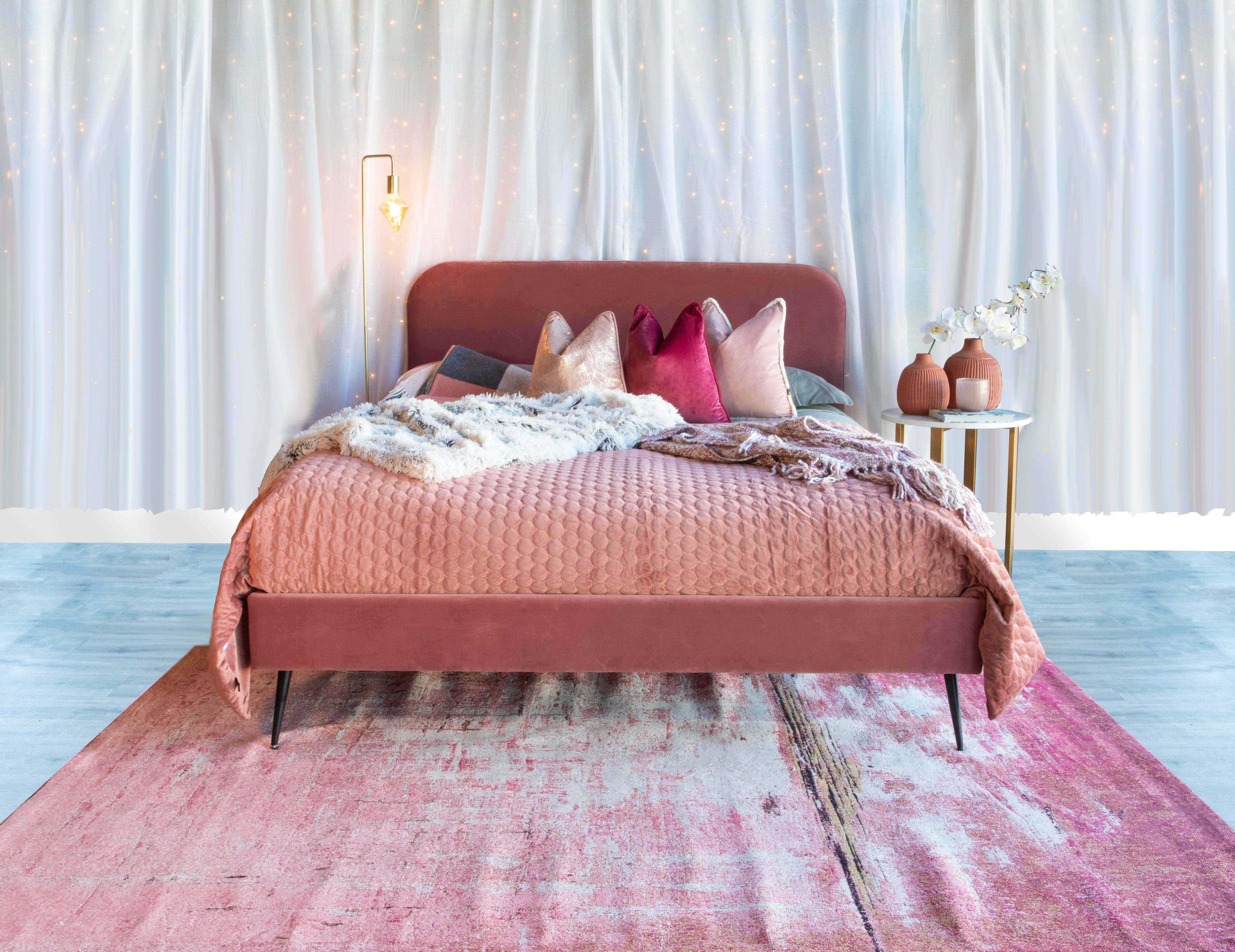 Floyd Blush Pink Velvet 5' Bed Frame in 2020 Pink