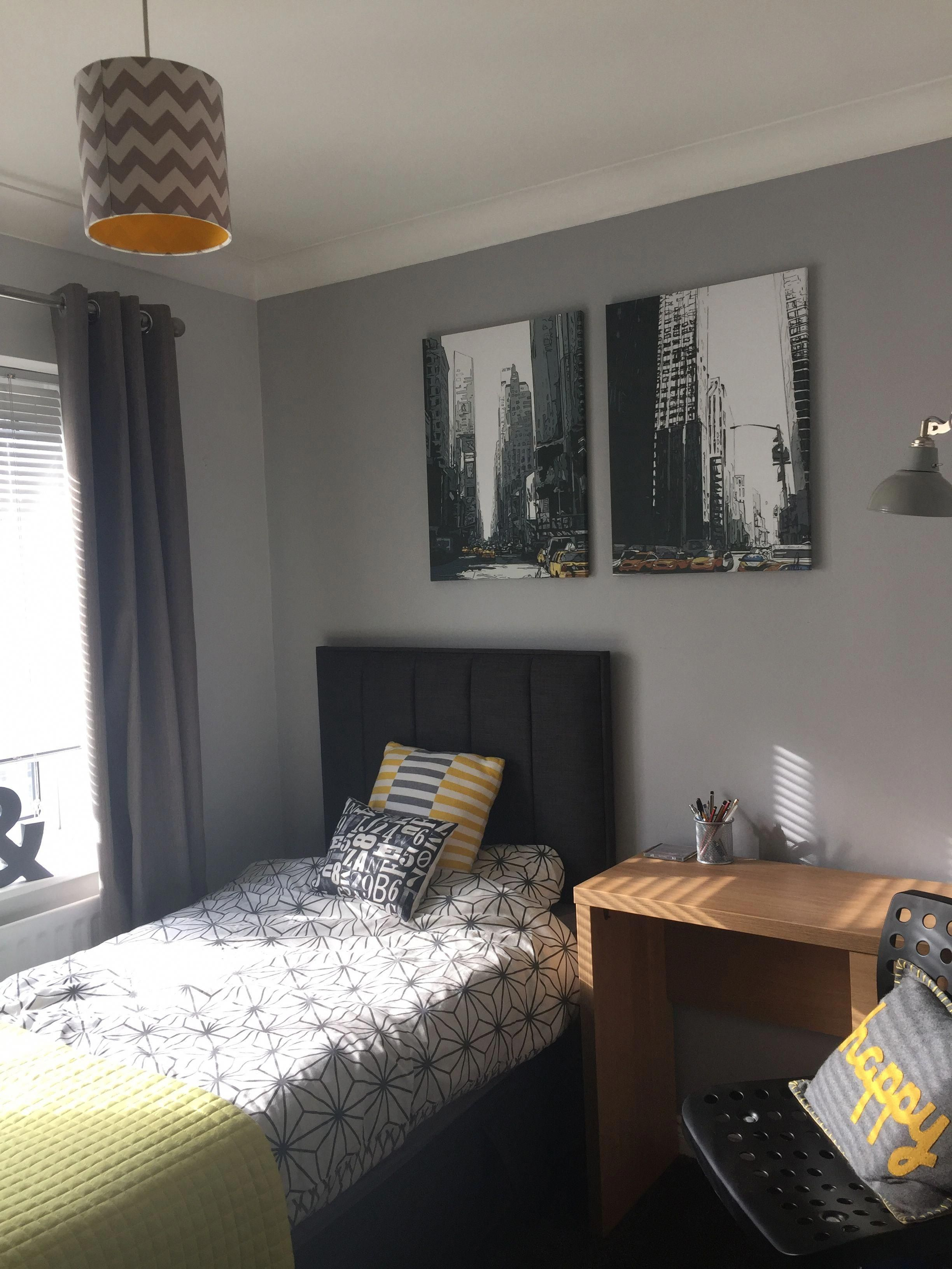 Grey Bedroom With A Pop Of Ochre For Son S Bed
