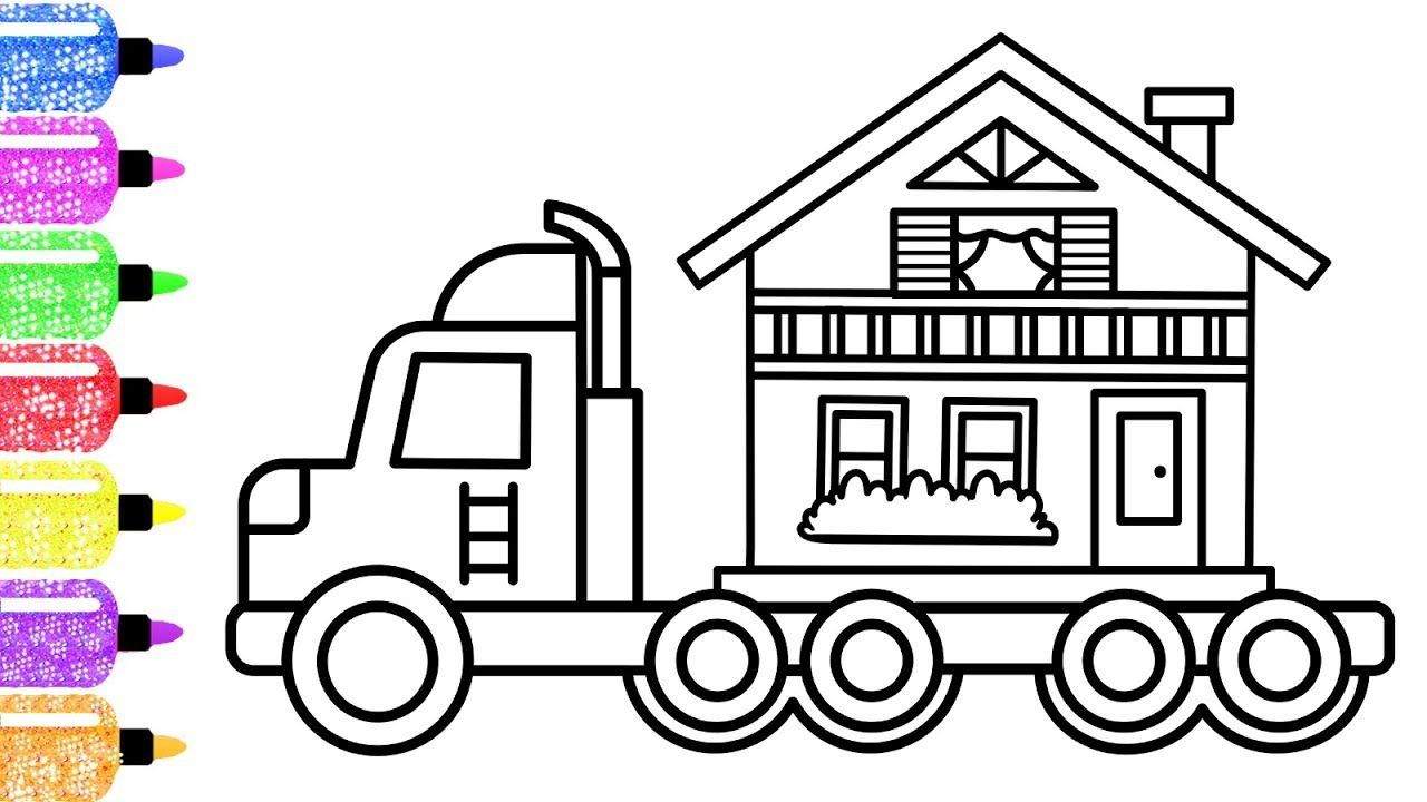 How To Draw A Home On Truck For Kids Moving House Coloring Page