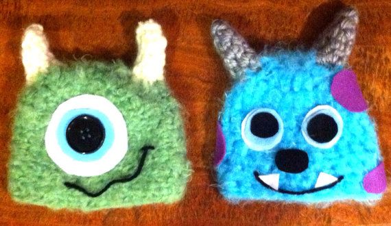 03fe4219e45 Mike and Sully - Monsters Inc beanies on Etsy