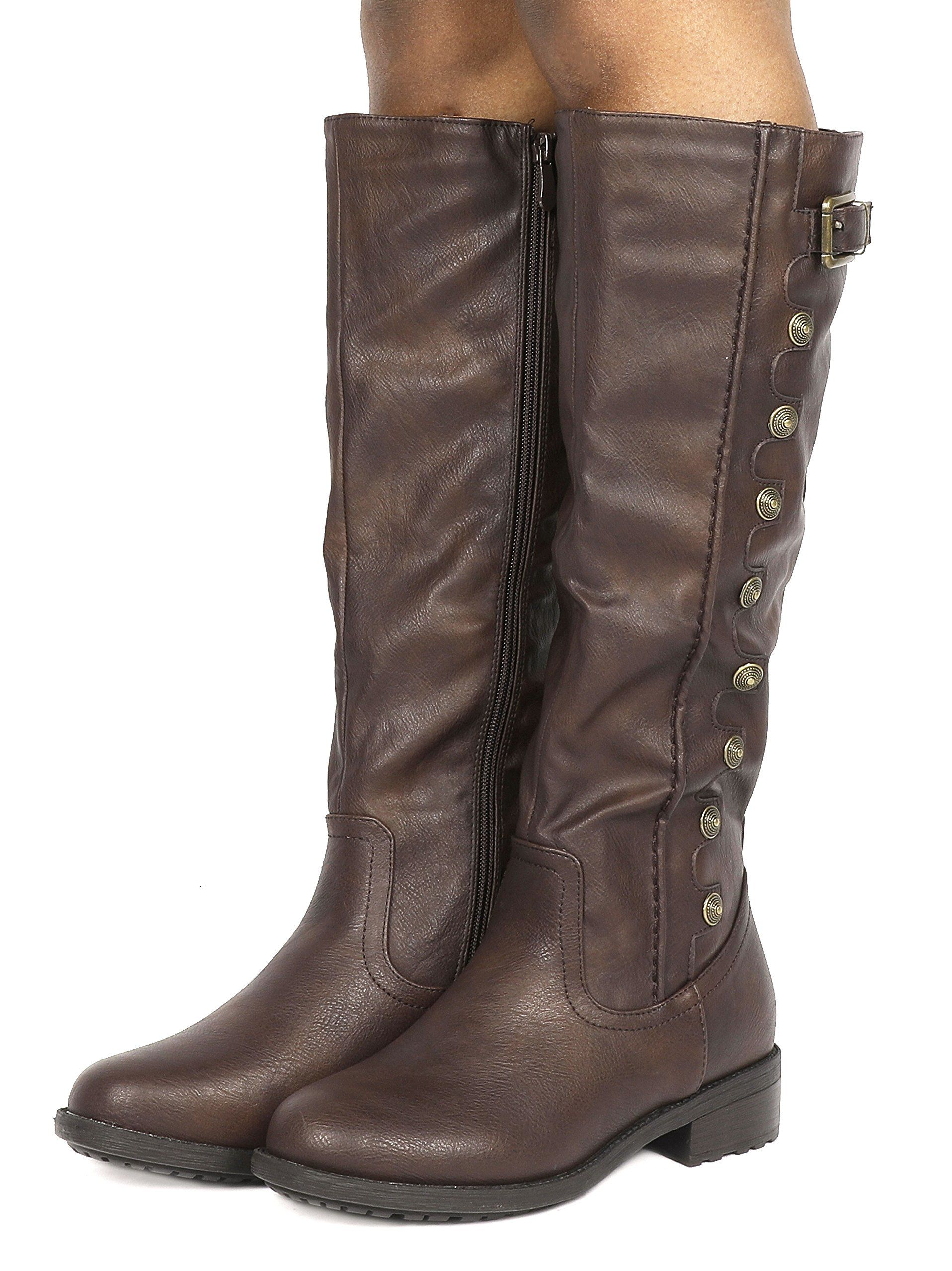 f59d8418b08 DREAM PAIRS Womens Army Brown Pu Leather Knee High Winter Riding Boots Wide  Calf Size 8.5 M US     Details can be found by clicking on the image.