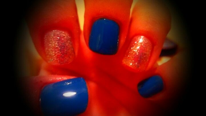Blue with silver glitter
