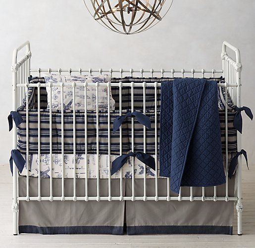 Rh Baby Child S Tailored Stripe Vintage Airplane Blueprint Nursery Bedding Collection Our Newest Puts A Masculine Spin On Traditional Mattress