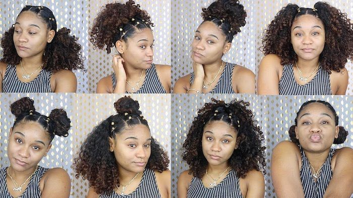 Young Black Woman Trying Out Eight Different Hairstyles For Afro Hair High And Low Bu Medium Curly Hair Styles Curly Hair Styles Naturally Curly Hair Styles