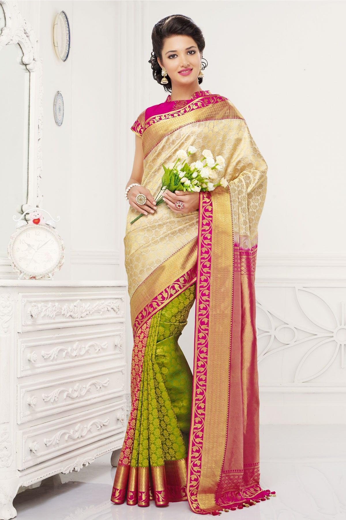 81a3939899 Off white colour Indian pure Kanjivaram silk Saree with rani pink & gold  border online shopping in Alexandria, Anaheim, Oakland, Hayward