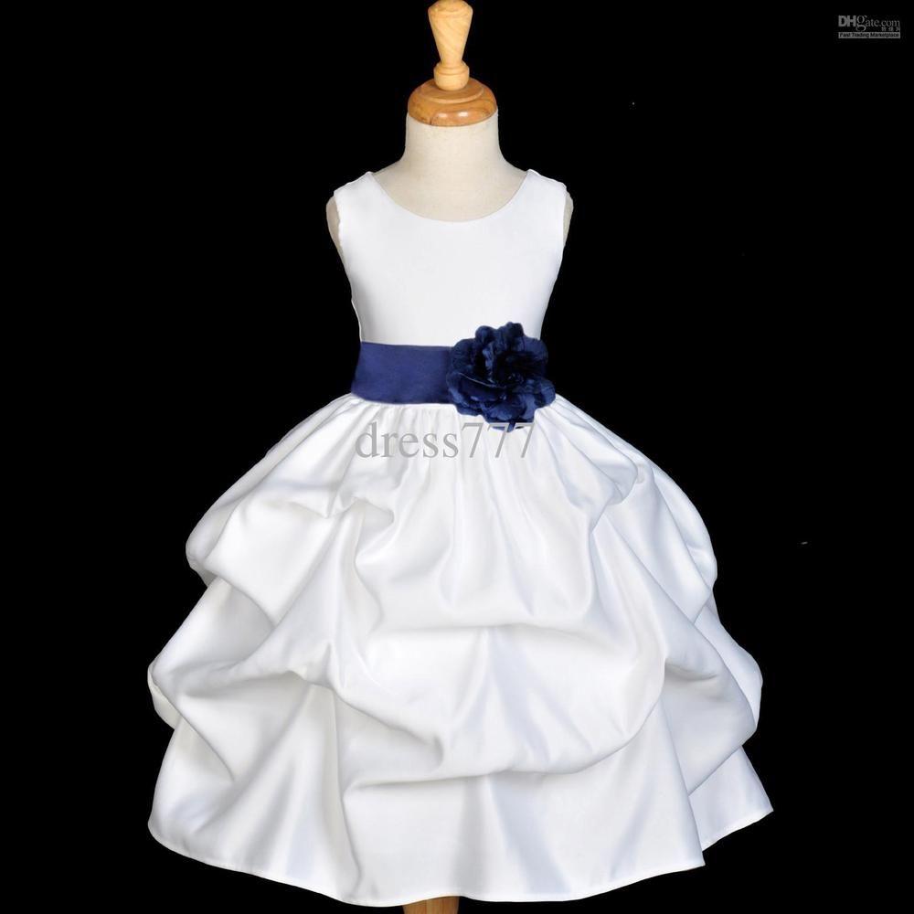 Vestido blanco con azul de nina