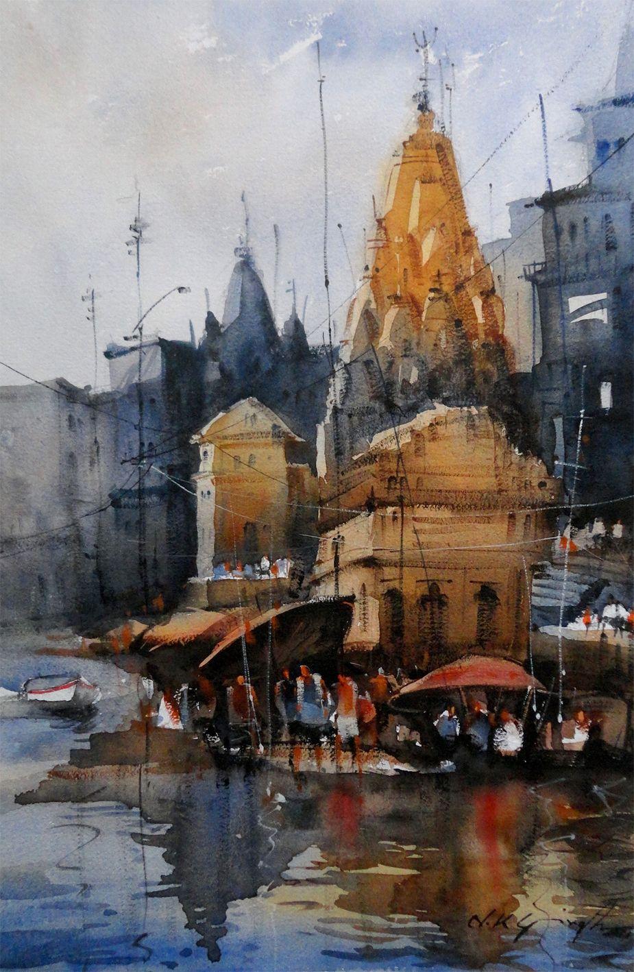 Indian Temple Watercolor Painting Watercolor Landscape Paintings Indian Art Paintings Watercolor Art