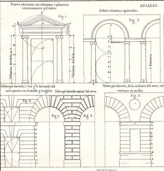 doors, arcades, windows, architectural print vignola ... 2006 chevy silverado door lock diagram door arch diagram #7