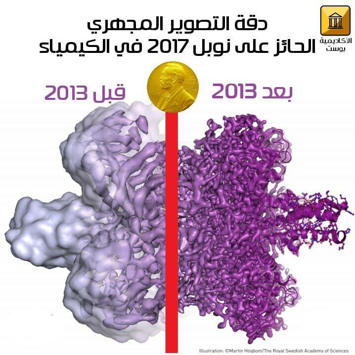 يمكنك من تلك الصورة فهم ما أدى إليه تراكم جهود العلماء الثلاثة للوصول لدقة جزيئية عالية جدا في أقصى يمين الصورة بتطوير Cryo Em وإدخال بعض التعديلات عليه Science