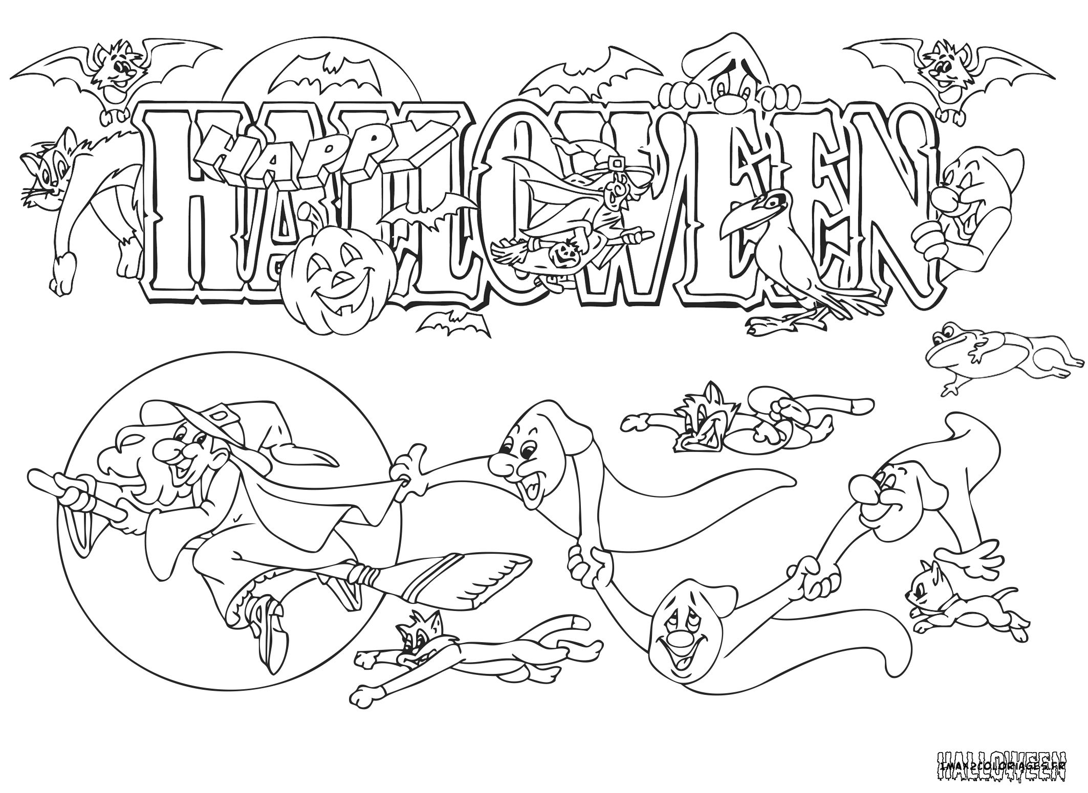 Dessin Joyeux Halloween.Happy Halloween A Colorier Colorier Coloriage Coloriage Halloween