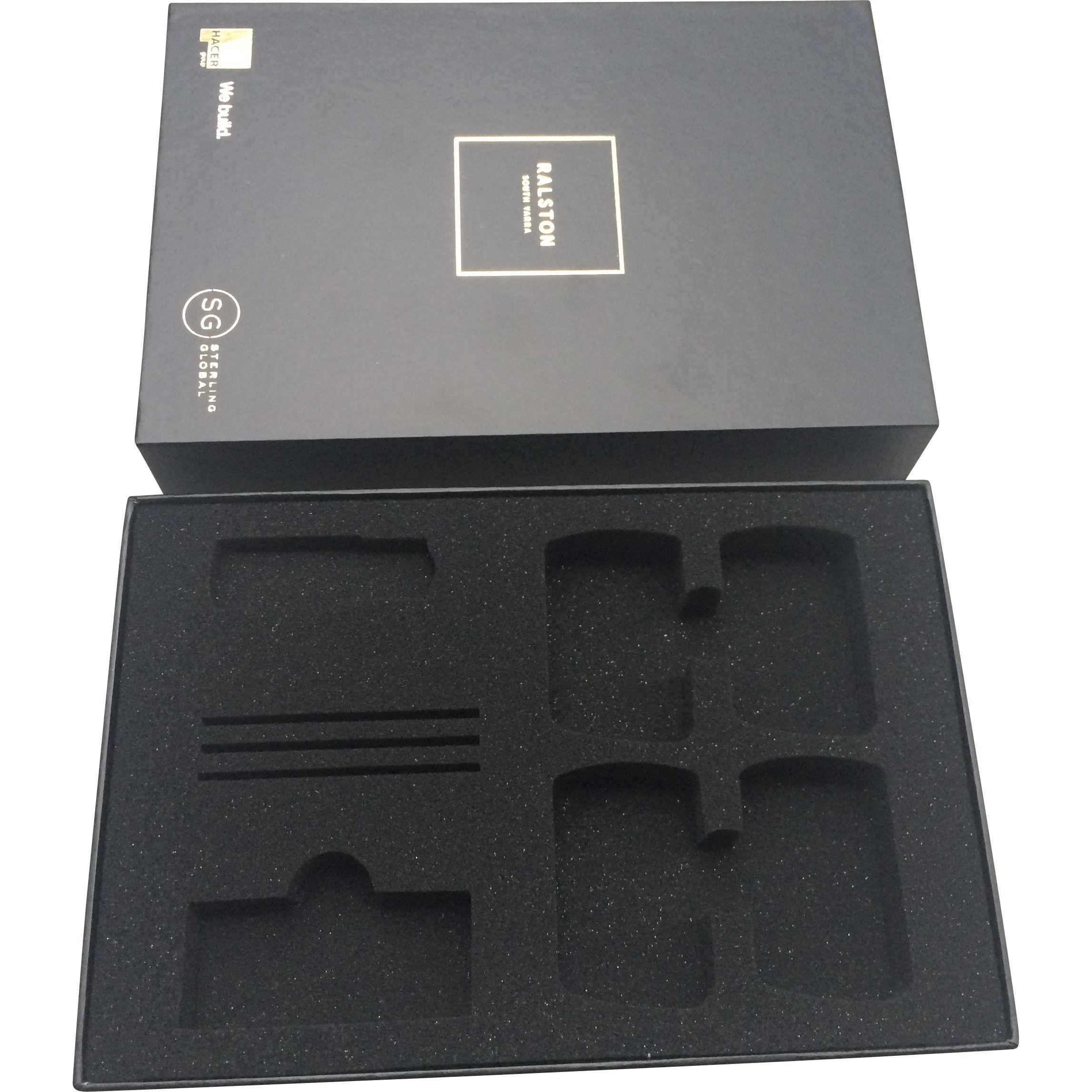 handover box with customised foam insert black foam insert in