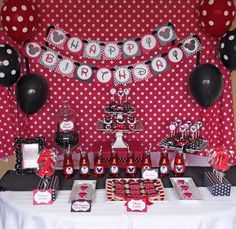 Minnie Mouse Red Deluxe birthday party package PRINTABLE red black SALE Sale diy