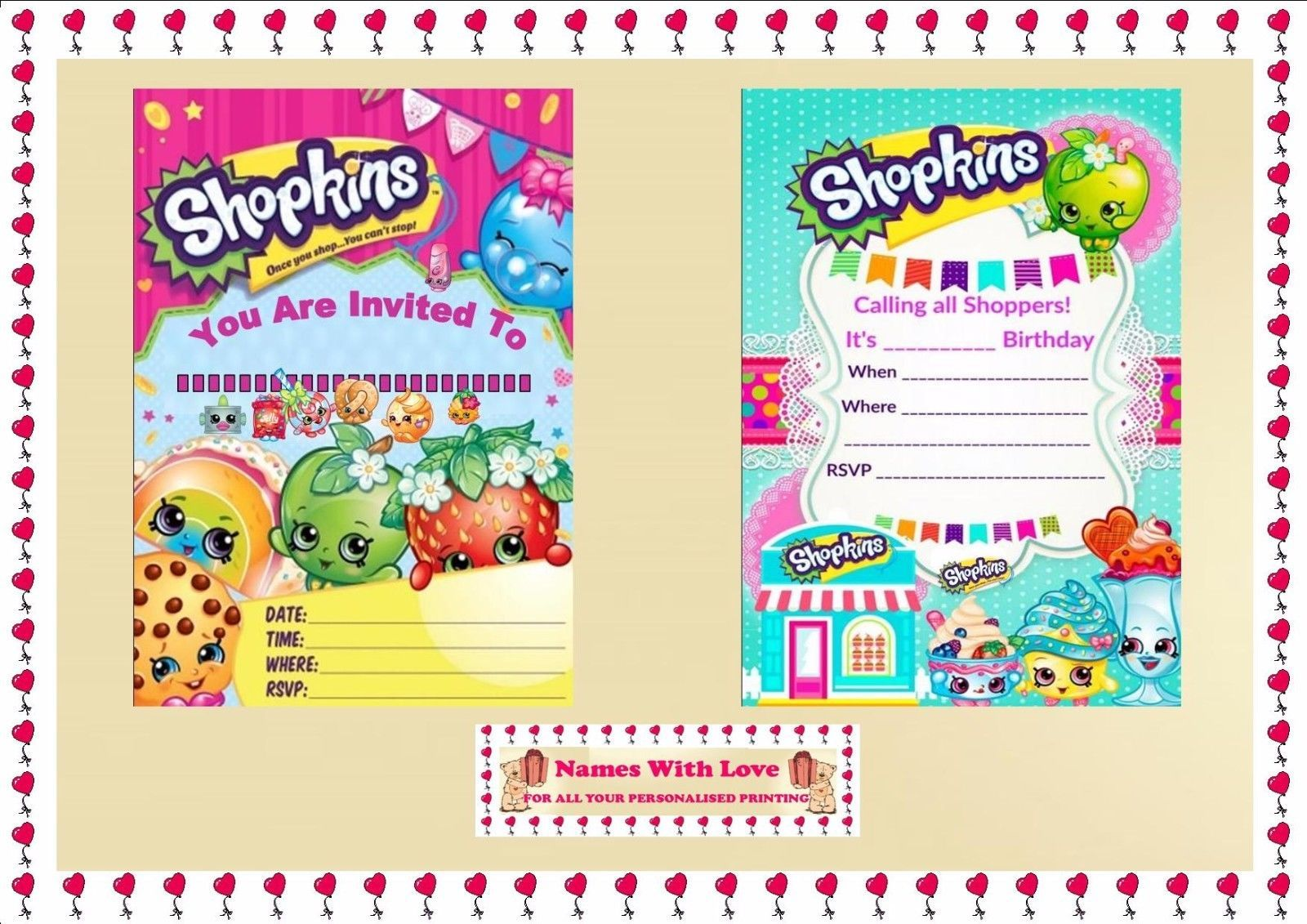 Personalised SHOPKINS Birthday Party Invitations or Thank you cards /& Envelopes