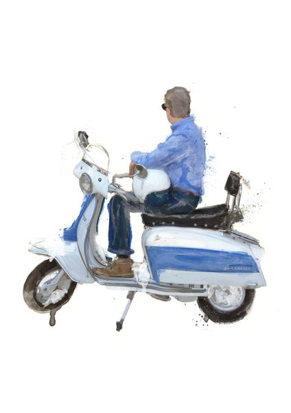 Lambretta A Painting Of A Lambretta Scooter And Owner By