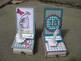 Ich hab die Tage bei Simone Stempelqueen diese süßen kleinen Boxen gesehen ... es sind Streichholzschachteln wo oben eine Easelcard drauf is...