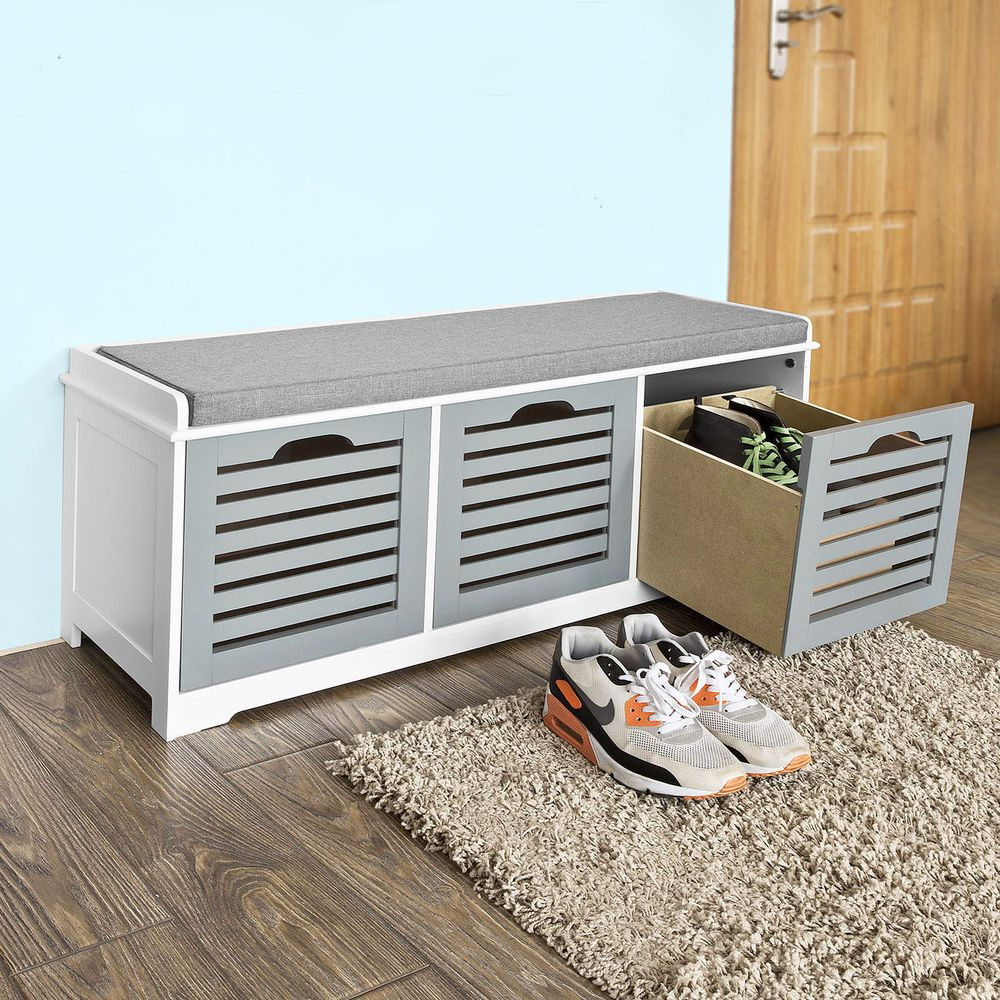 Hallway drawer storage  SoBuy Hallway Shoe Storage Bench Cabinet with Drawers Seat Cushion