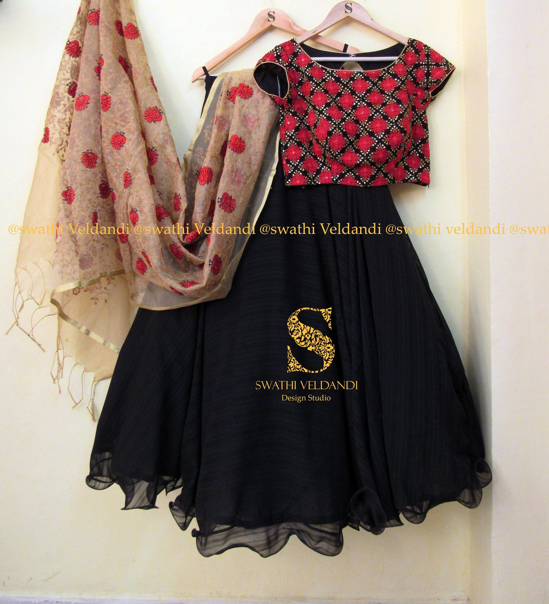 Beautiful Black Color Skirt And Red Combination Crop Top With Jute DupattaCall Watsapp For Details