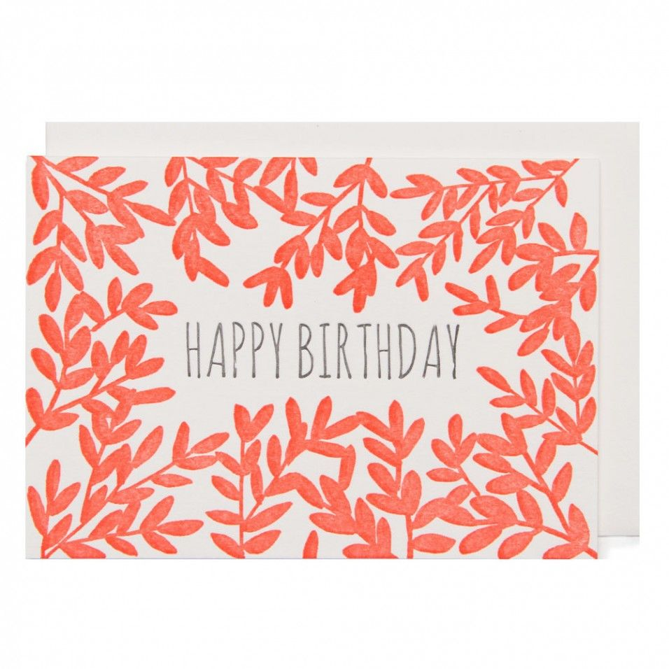 Letterpress Leaves Mini Birthday Card Gift Decoration