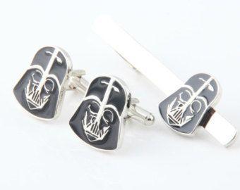 Tie Clip Cufflink Set. Black Knight Series Set.Wedding Gifts.Groomsmen Gifts