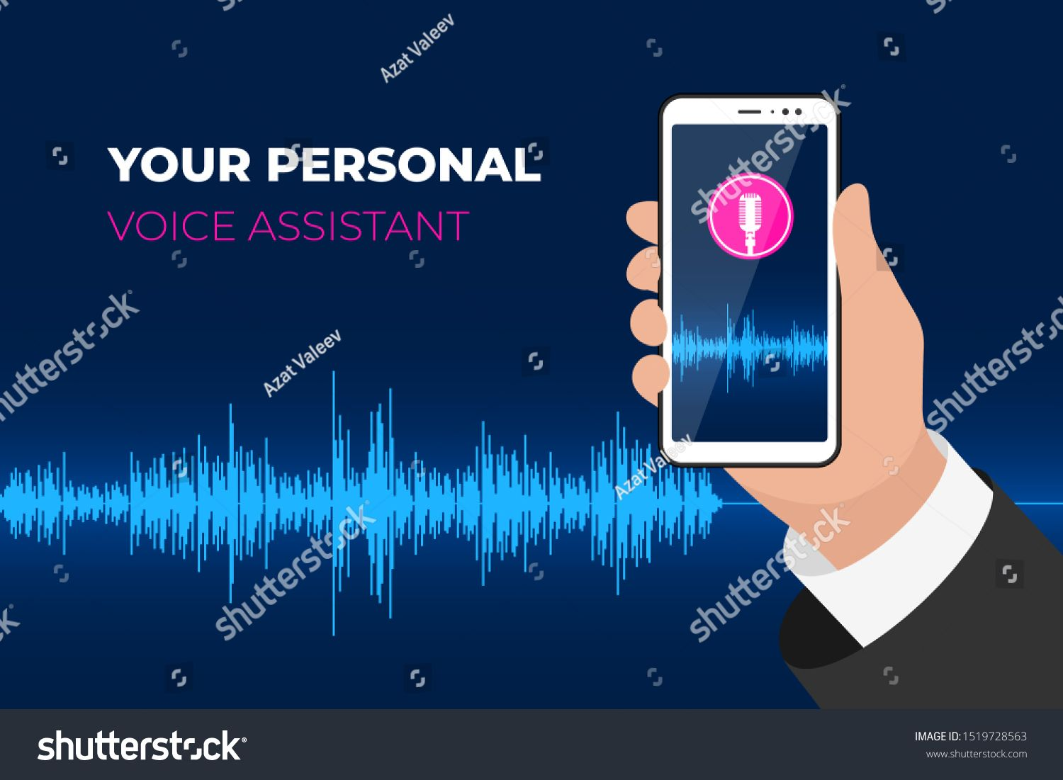 Personal Assistant And Voice Recognition Mobile App Hand Holding Smartphone With Microphone Button On Scr Intelligent Technology Photo Editing Videos Tutorial